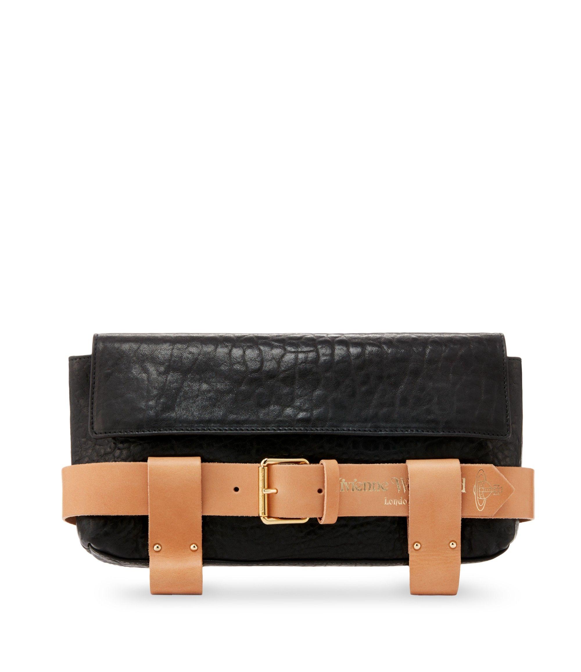 VIVIENNE WESTWOOD Bondage Clutch 7111 Black/Tan. #viviennewestwood #bags  #shoulder bags