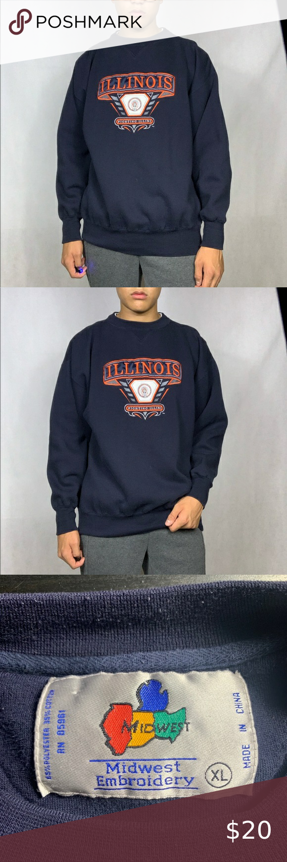 Vintage Illinois Fighting Illini Sweatshirt Fully Embroidered Design Model Is 6 0 For Reference 24 5 Inches Pi Sweatshirts Vintage Shirts Sweatshirt Shirt [ 1740 x 580 Pixel ]