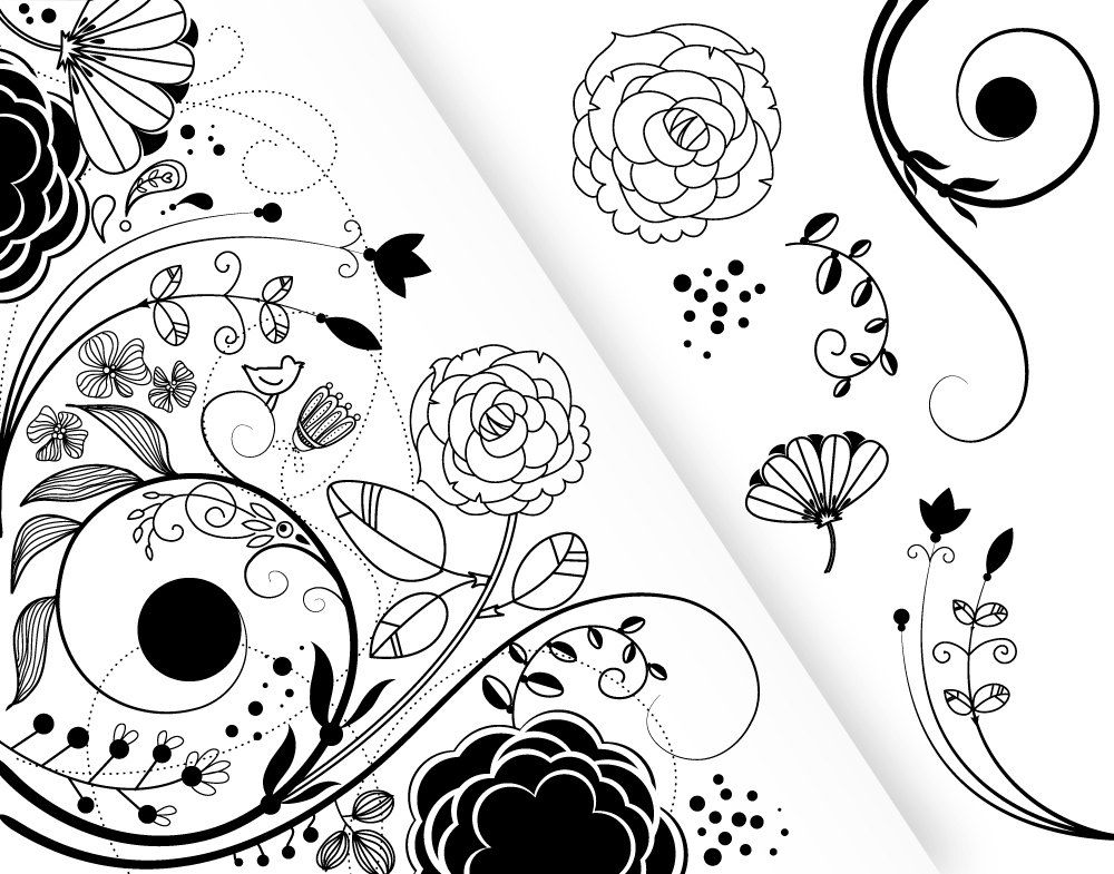 7 flower designs and a floral border clipart for by graphicmarket 7 flower designs and a floral border clipart for scrapbooking wedding invitation cards personal and small commercial use stopboris Choice Image