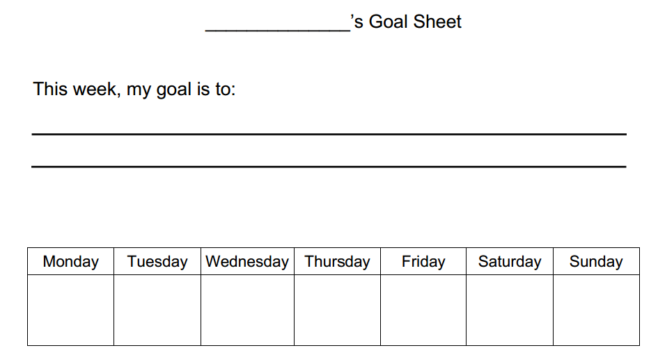 simple Goal worksheet for kids This simple goal worksheet allows – Leadership Worksheets