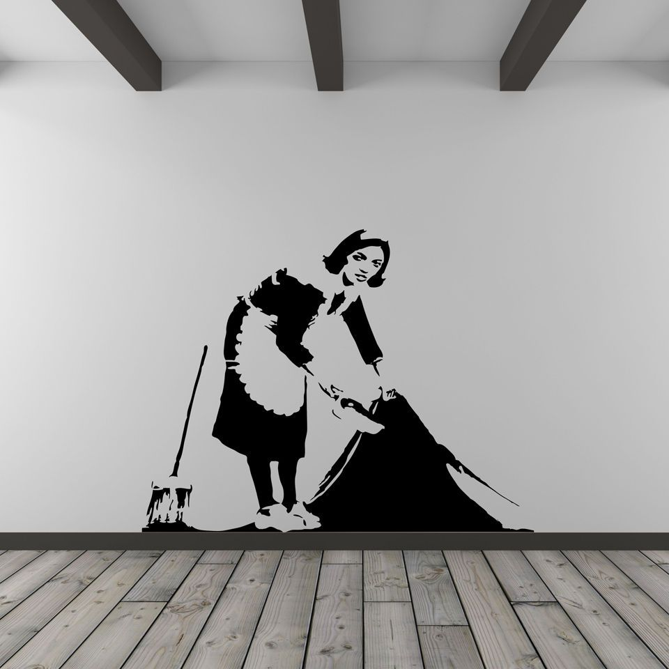 Banksy cleaner vinyl wall decal banksy wall decals and walls