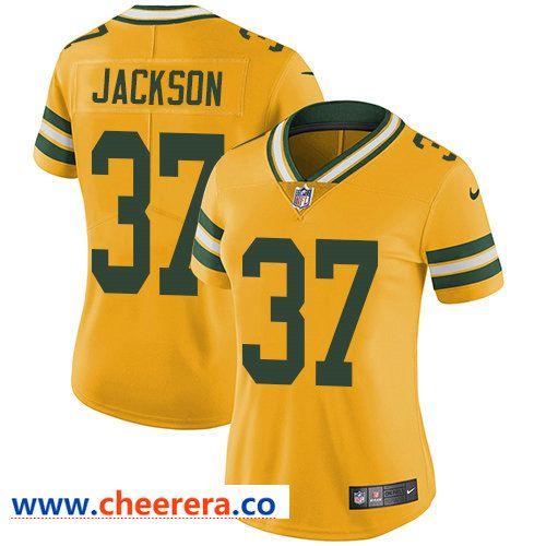 31071cd3a Nike Packers #37 Josh Jackson Yellow Women's Stitched NFL Limited Rush  Jersey