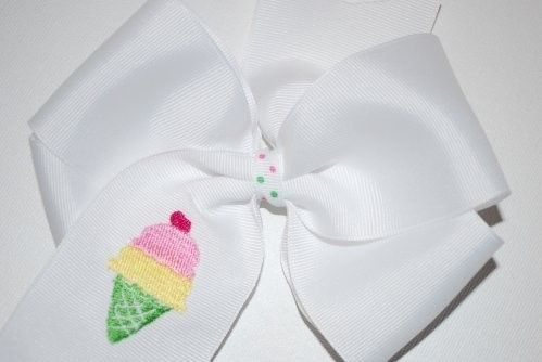 Embroidered Ice Cream Cone Cherry Hair Bow Boutique Summer. $9.99, via Etsy.  Have in pink.