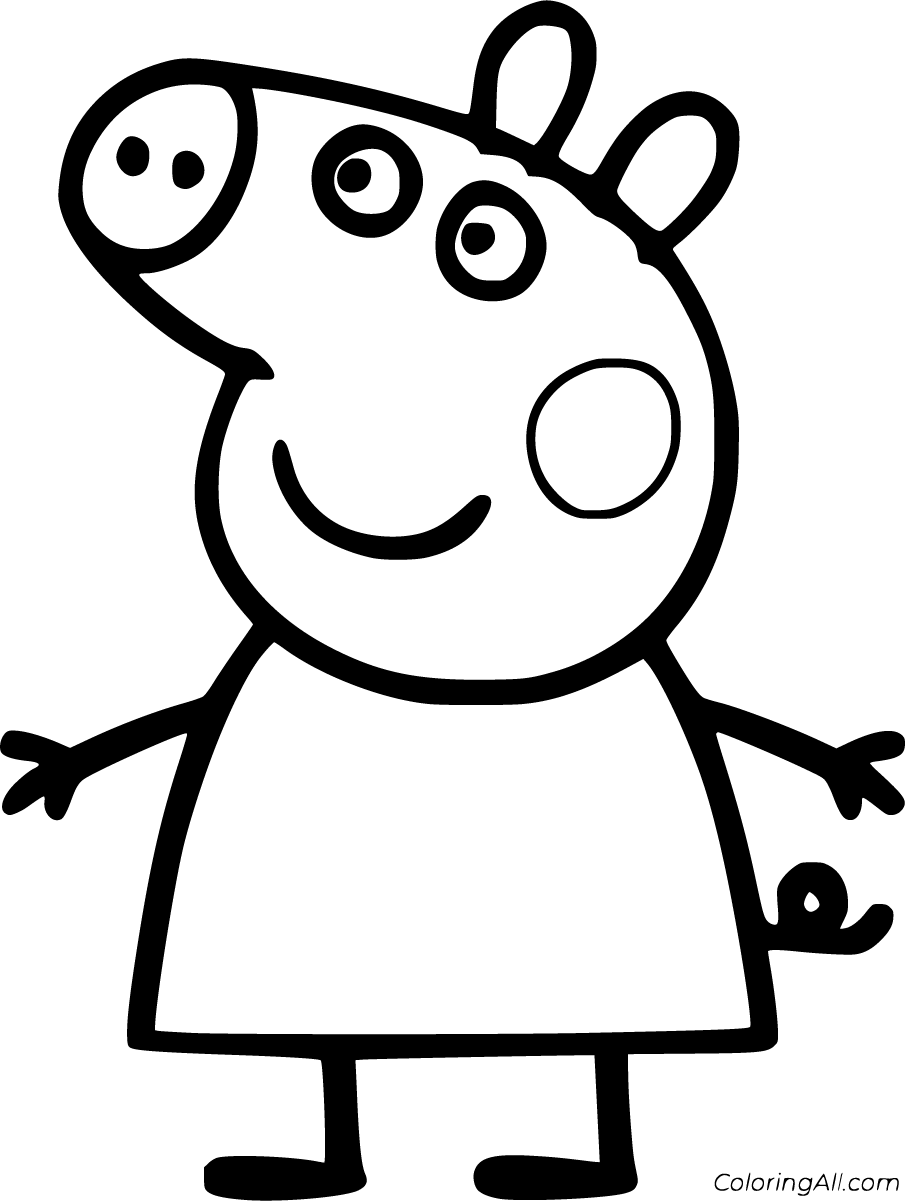 100 Free Printable Peppa Pig Coloring Pages In Vector Format Easy To Print From Any Device And Automati Peppa Pig Coloring Pages Peppa Pig Colouring Peppa Pig