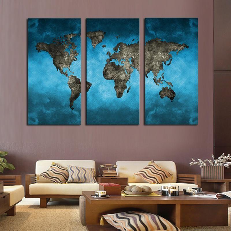 Ocean World Map Multi Panel Canvas Wall Art Map Canvas Painting World Map Wall Art World Map Canvas