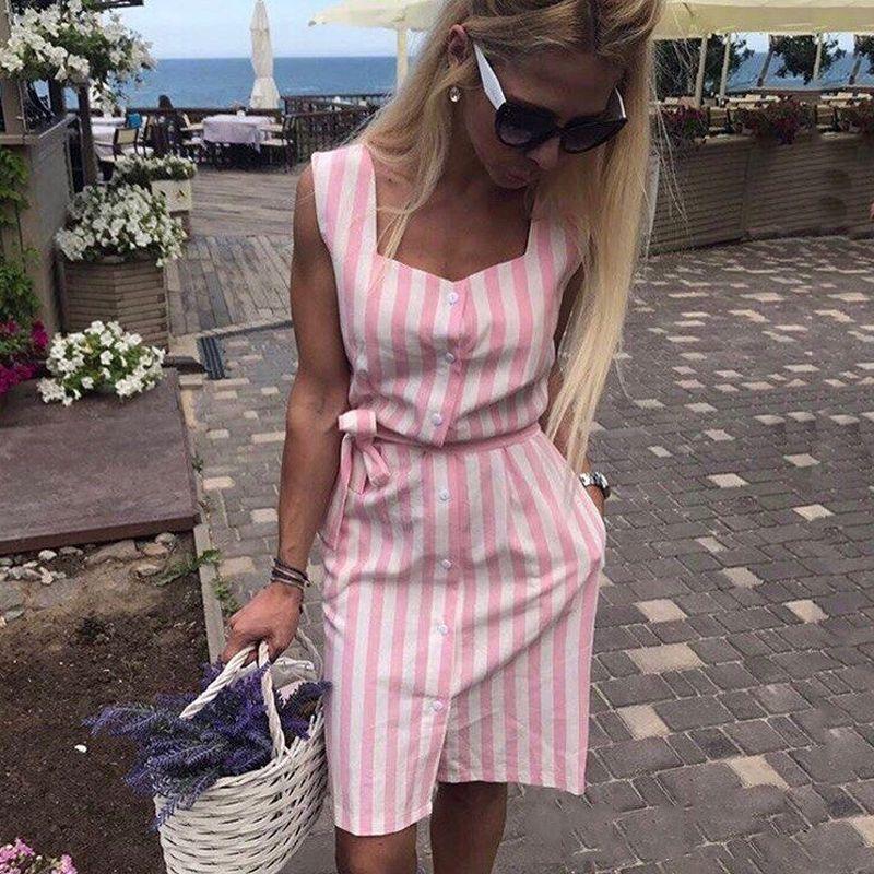 0c8429700a2 Cheap Mujeres elegante rayas vestido de camisa 2018 verano nuevo cuello  cuadrado sin mangas Correa Vestidos