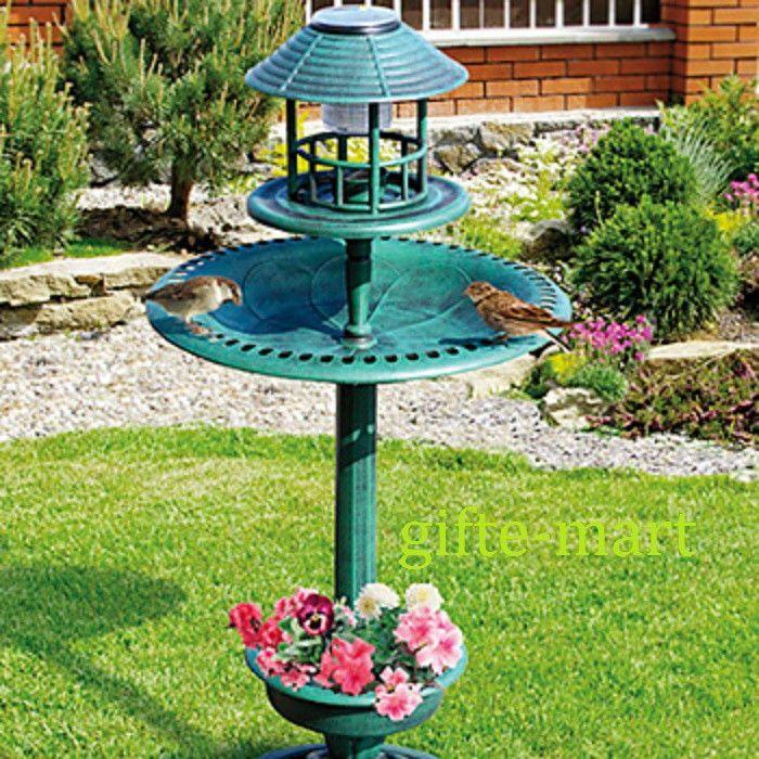 3 In1 SOLAR LED Light Plastic Bird Bath Bird Feeder Plant Stand Flower  Planter