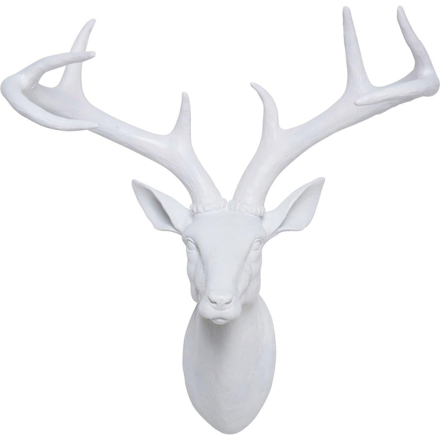 deko kopf deer weiss kare design tierkopfe reh geweih wanddekoration weiß ideen wohnzimmer