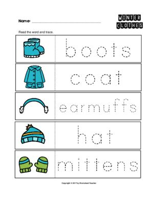 winter clothes trace the words worksheets preschool kindergarten from worksheet teacher on. Black Bedroom Furniture Sets. Home Design Ideas