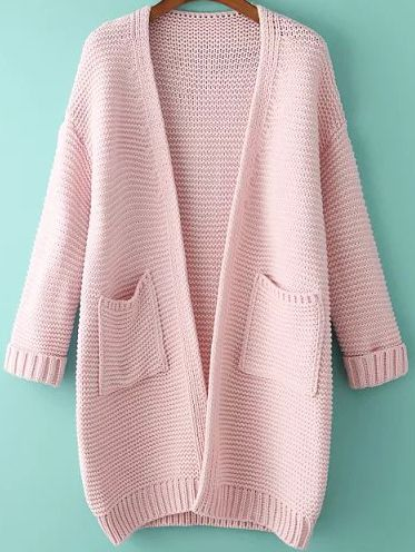Romwe With Pockets Knit Pink Cardigan