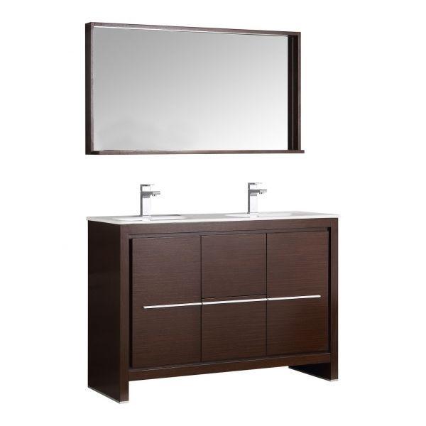 "Fresca FVN8148WG-D Allier 48"" Wenge Brown Modern Double Sink Bathroom Vanity W/  #Fresca #Contemporary"