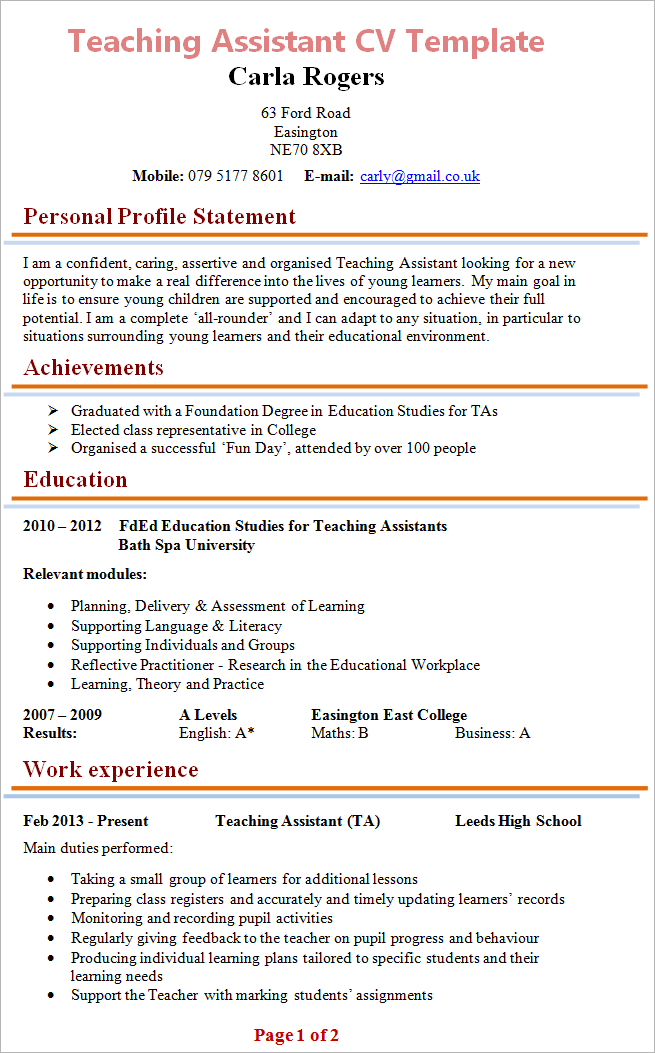 Teaching Assistant Cv Template Tips And Download Cv Plaza Teaching Assistant Resume Examples Professional Resume Examples