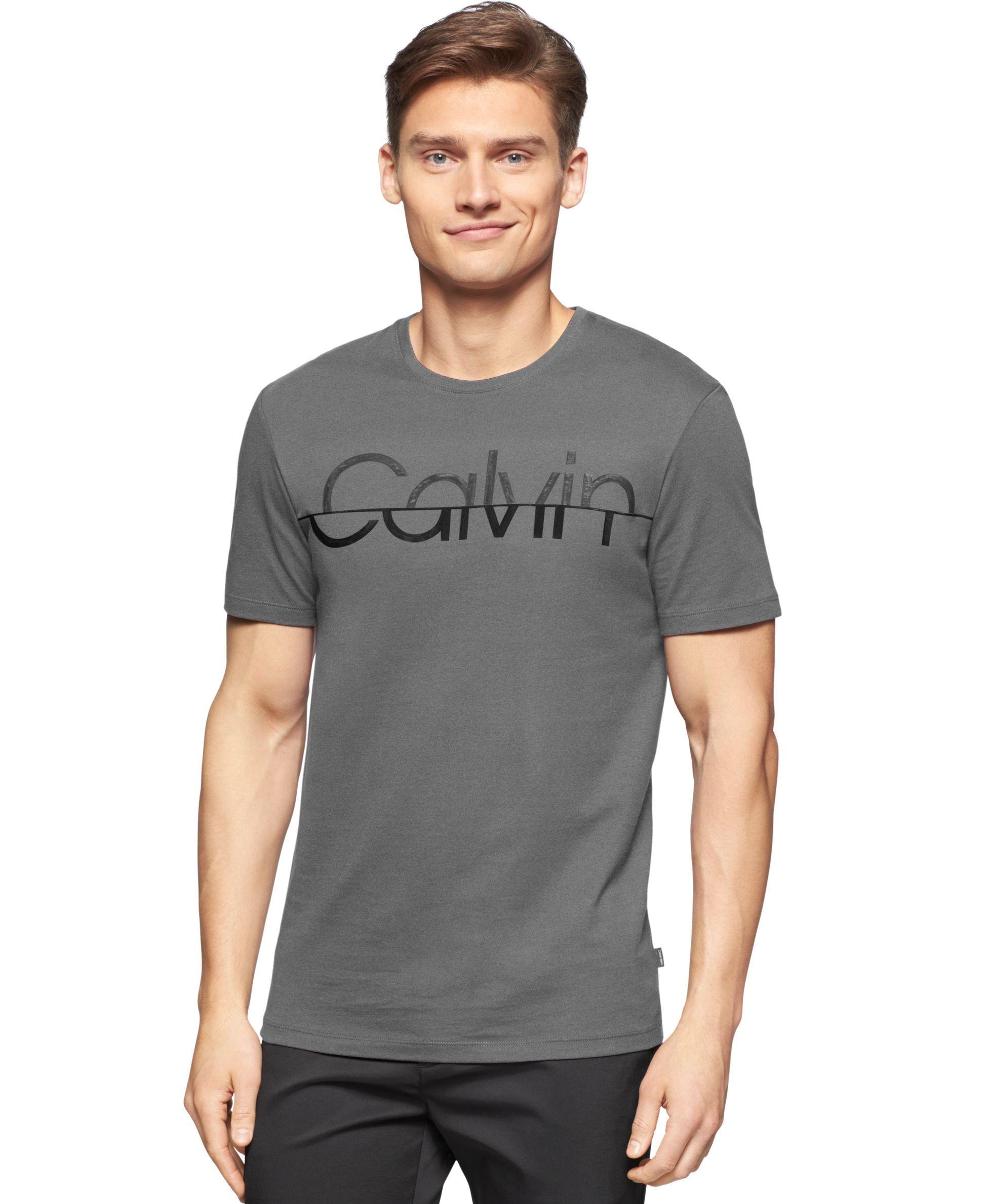Calvin Klein Split Logo T Shirt T Shirts Men Macy S Mens Casual Outfits Mens Tshirts T Shirt