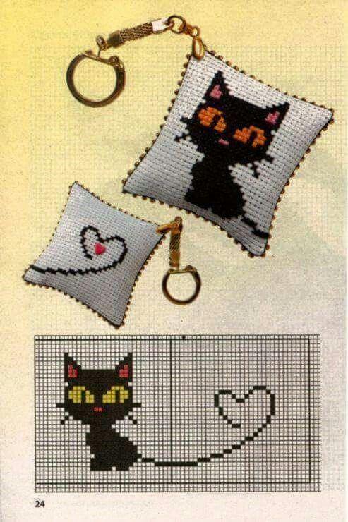 Gatito   DOBLE CARA   Pinterest   Gato, Punto de cruz y Puntos