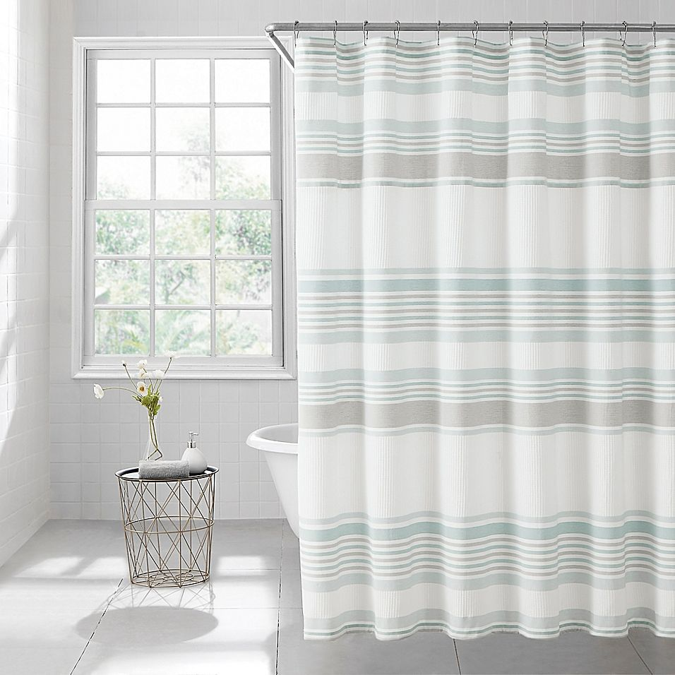 Lana Stripe 54 X 78 Shower Curtain In Spa Striped Shower Curtains