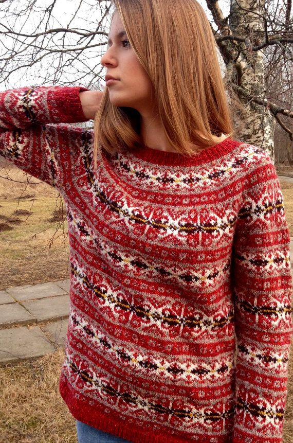 Fair Isle sweater Red sweater Iceland sweater Womens por adaLV ...