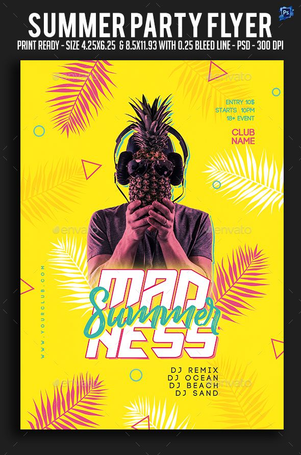 Summer Party Flyer Fully Editable Flyer Template Flyer Design