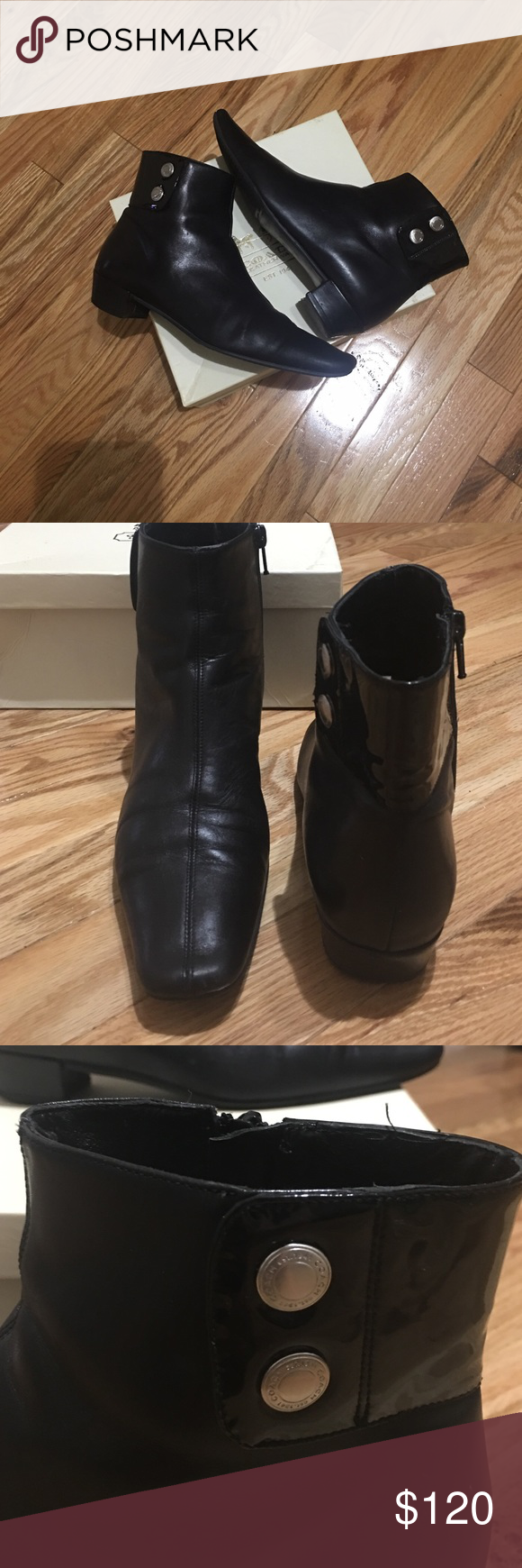 Coach Black booties Coach Black size 7 B ankle booties.  Has side zipper for easy on/off , silver Coach button detail black patten around back half of ankle. 1 in stacked heel. Coach Shoes Ankle Boots & Booties