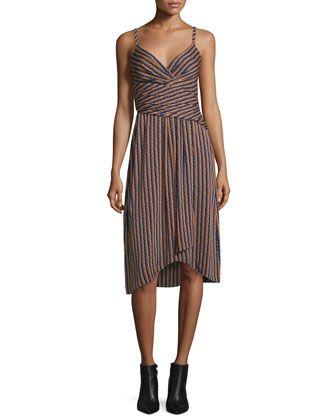 Saige+Striped+Stretch+Silk+Dress,+Rickrack+Khaki+by+Diane+von+Furstenberg+at+Neiman+Marcus.
