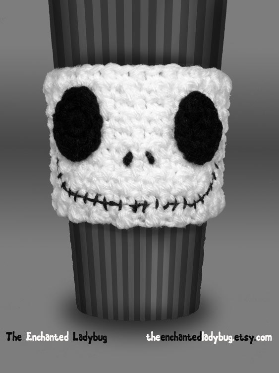 Crocheted Jack Skellington Coffee Cup Cozy | Café, Ganchillo y Gato
