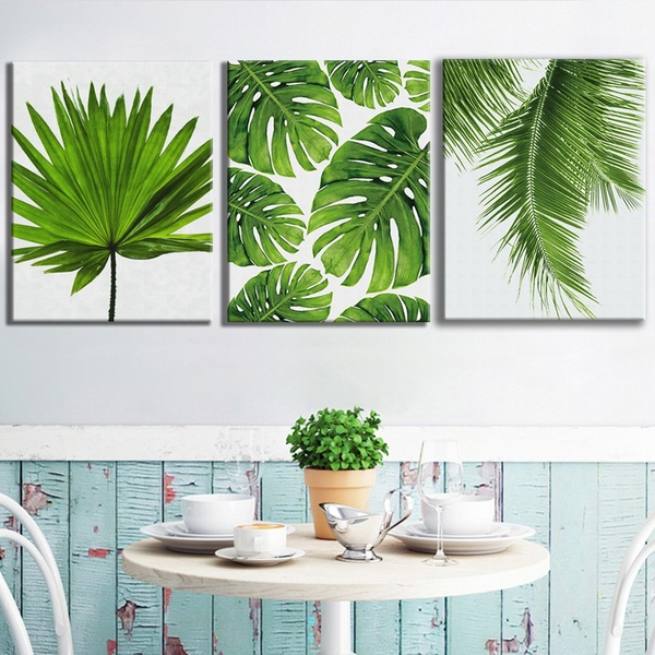 3 Piece Nordic Style Tropical Plant Green Leaf Canvas Painting Wall Art Fresh Palm Banana Leaves Monste Wall Art Canvas Painting Plant Painting Canvas Wall Art