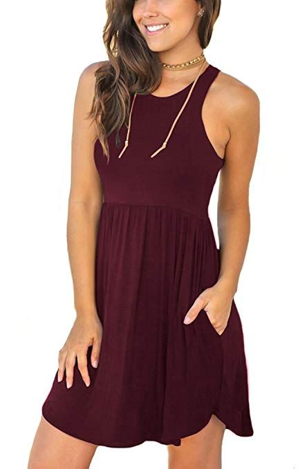 7d4a1947073 Unbranded* Women's Sleeveless Loose Plain Dresses Casual Short Dress with  Pockets Wine Red Small