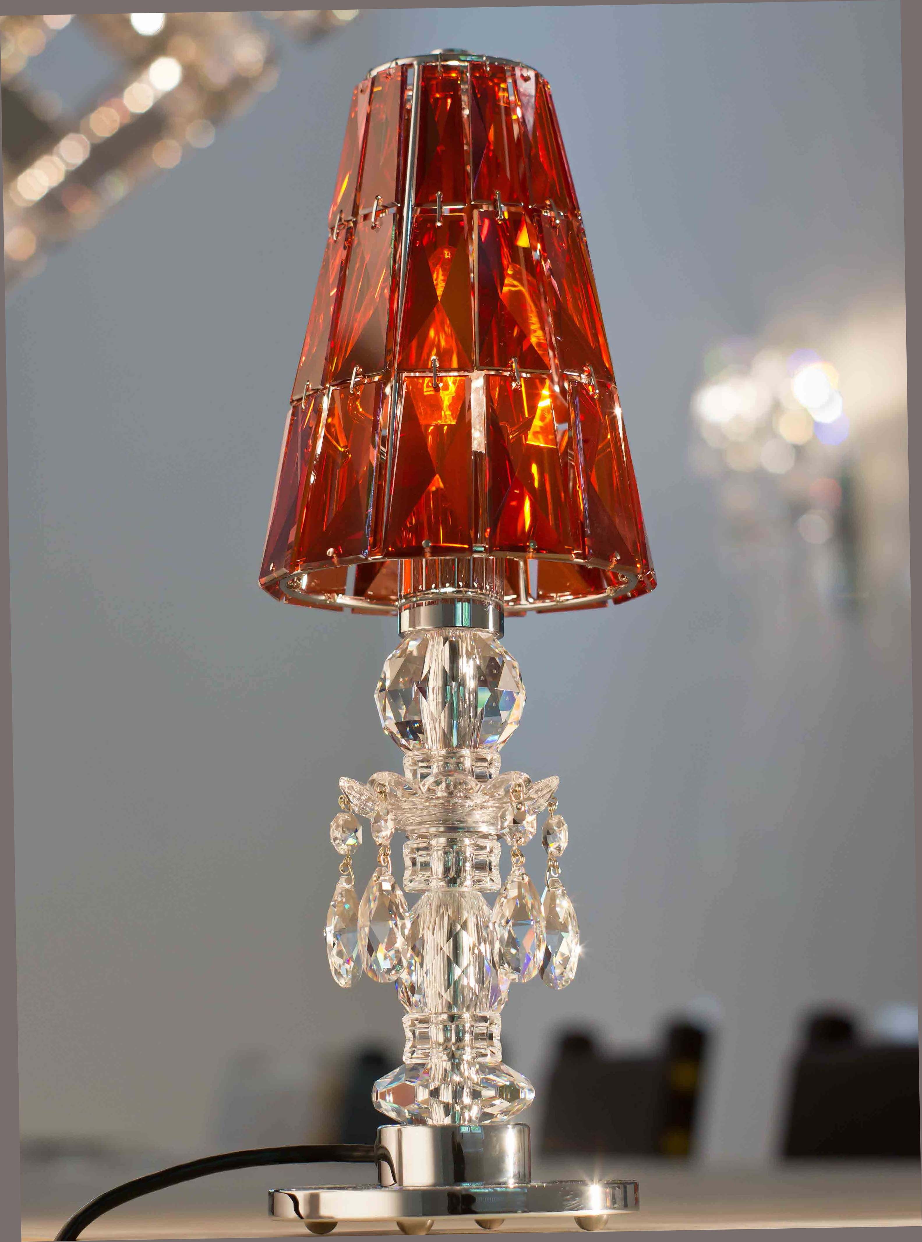 windfall chandeliers lula table lamp with red magma crystal shade - Chandelier Table Lamp