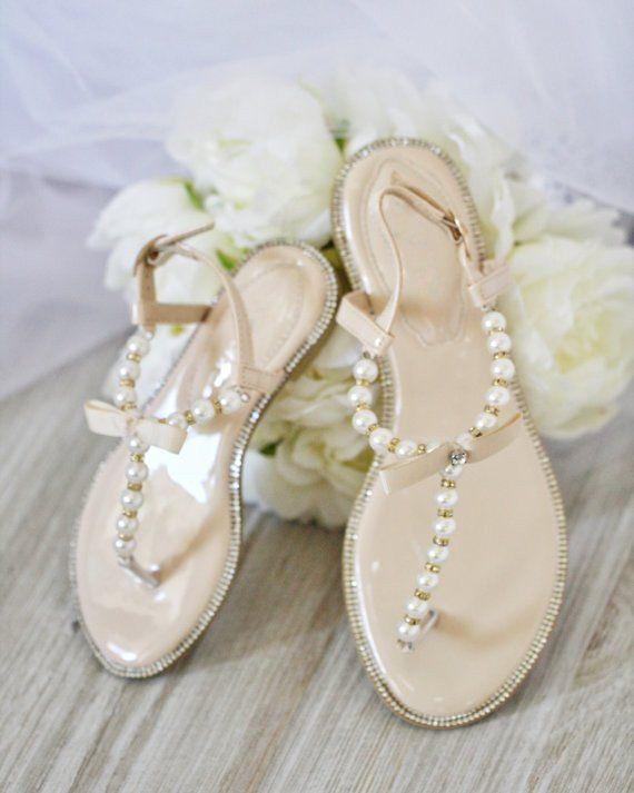 7f449d6302f2fc Girls Pearl Flat Sandals - Nude Pearls   Rhinestones T-strap ...