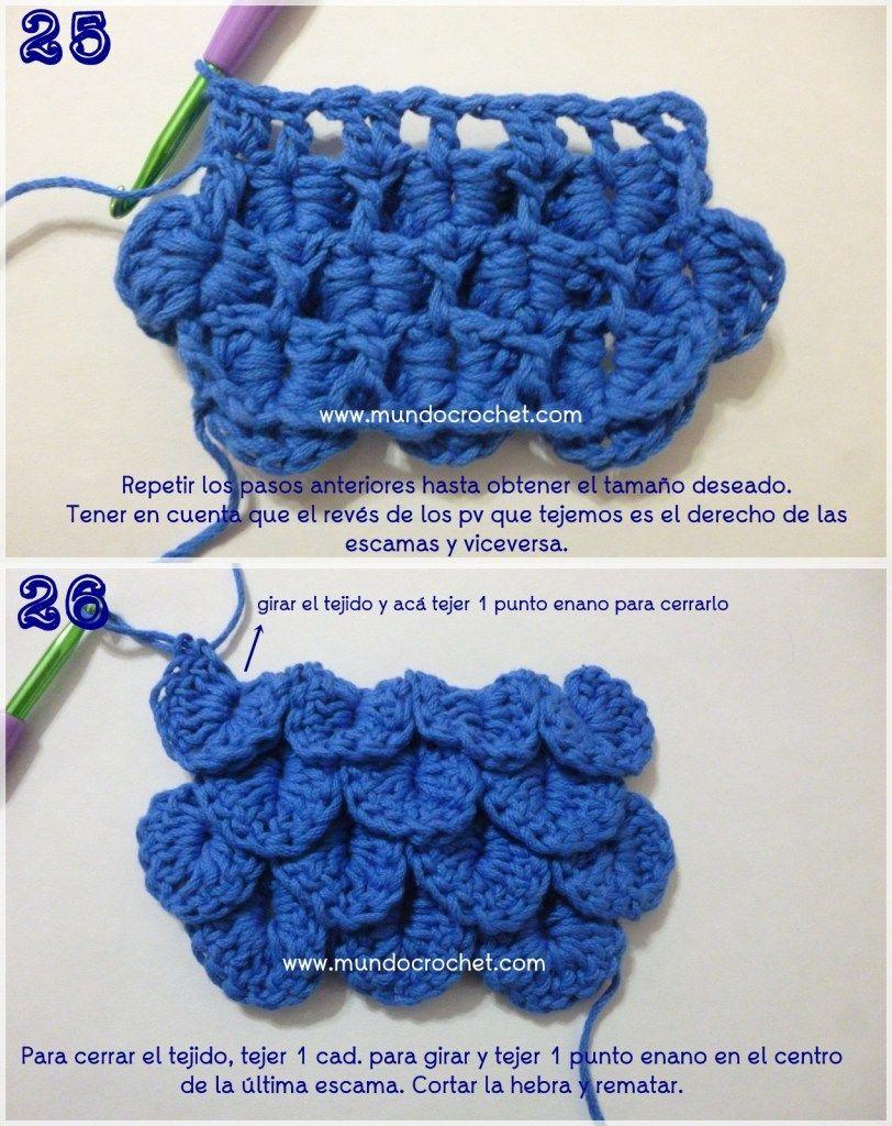 Como tejer el punto cocodrilo o escama a crochet o ganchillo paso a ...