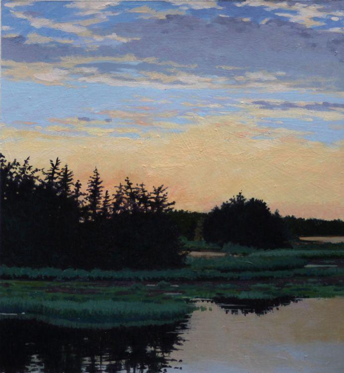 June Grey Evening Glow Landscape Paintings Landscape Art
