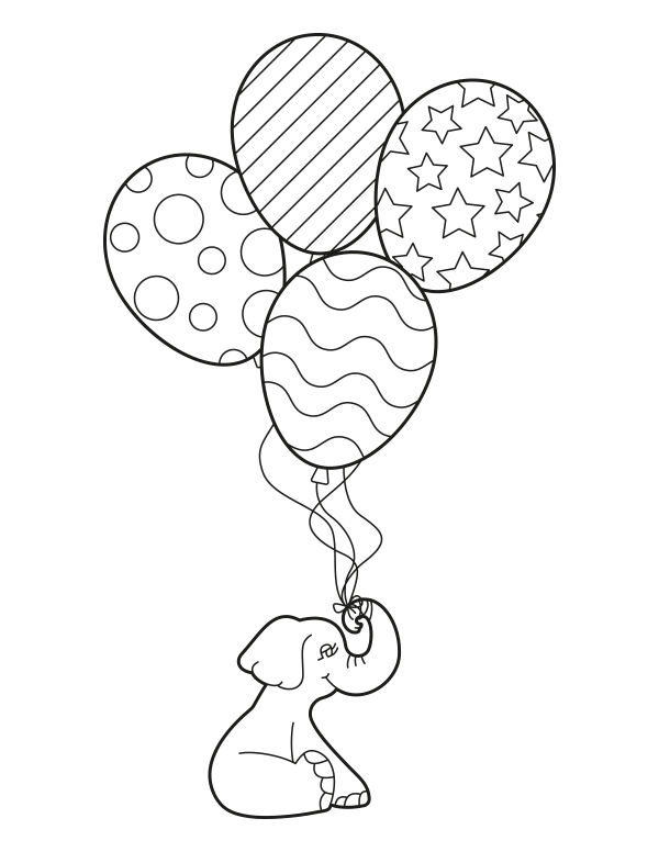 Free Printable Elephant With Balloons Coloring Page Download It At Https Musepri Bunny Coloring Pages Curious George Coloring Pages Geometric Coloring Pages