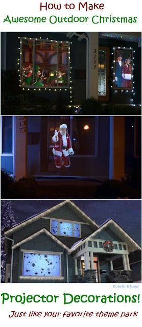 how to decorate with easy homemade outdoor rear projection animations for christmas and new years eve with atmosfx digital decorations projector kit - Christmas Digital Decorations