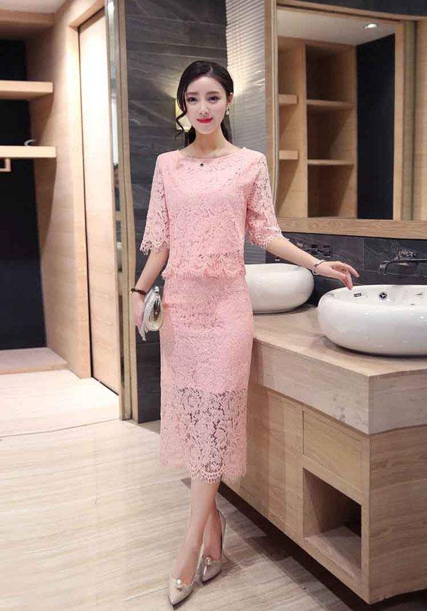 Setelan Rok Span Dengan Atasan Bahan Brokat Cantik Warna Pink A2966