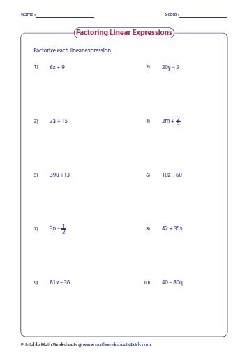 Factorize Each Linear Expression Basic Math Worksheets Pre Algebra Worksheets Algebra Worksheets