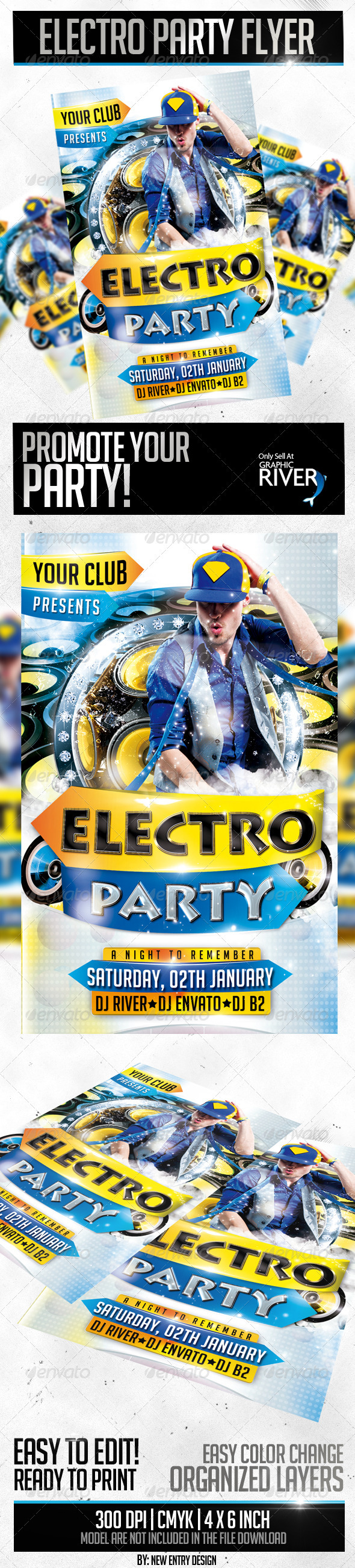 Electro Party Flyer Template Flyer template, Party flyer