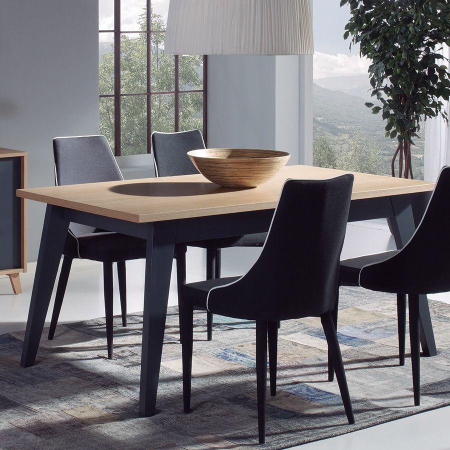 Table Salle A Manger Bois Avec Rallonge: Table à Manger Scandinave Gris Anthracite Et Couleur Bois