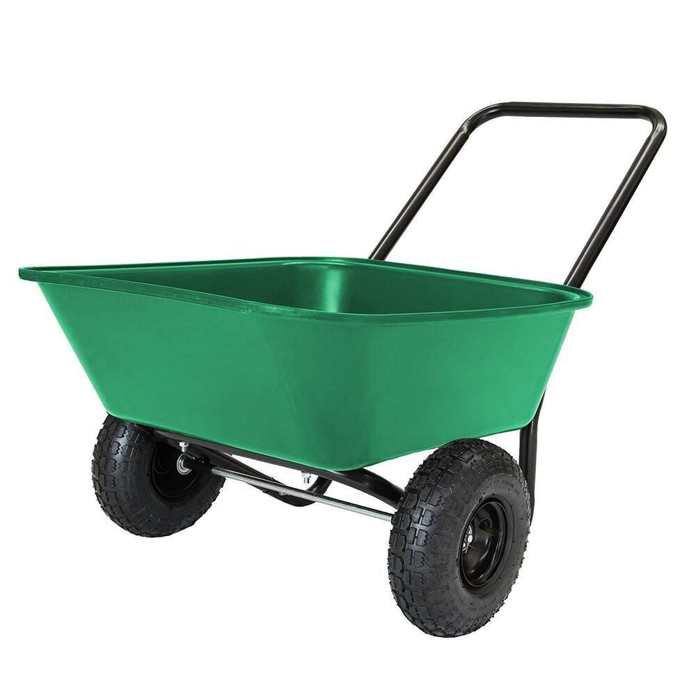Durable Dump Cart Wagon 2 Wheel Wheelbarrow Utility Garden Yard Landscaping Wheelbarrow Garden Cart Wheelbarrow Garden