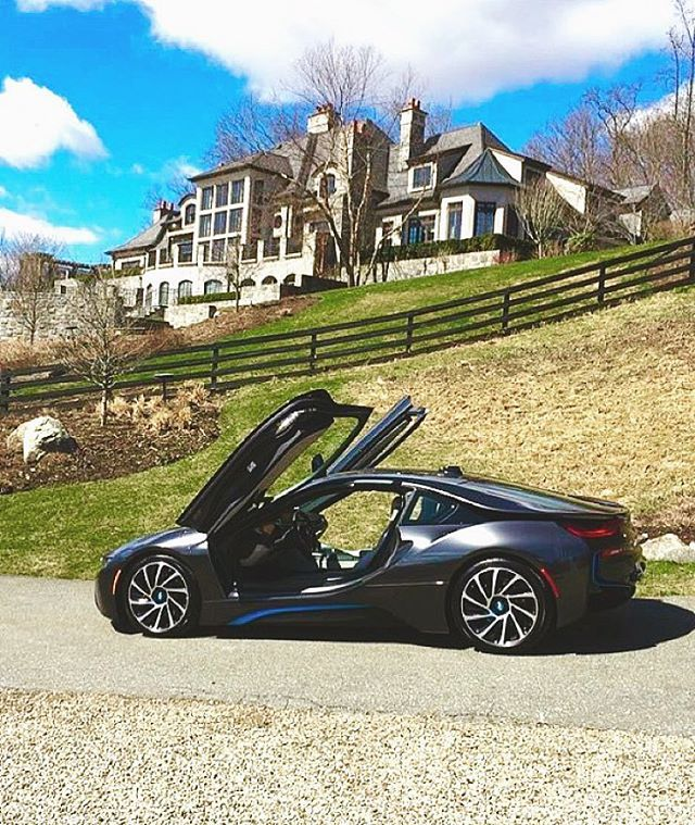BMW #i8 In Front Of A $19,000,000 Stone Mega Mansion In New York