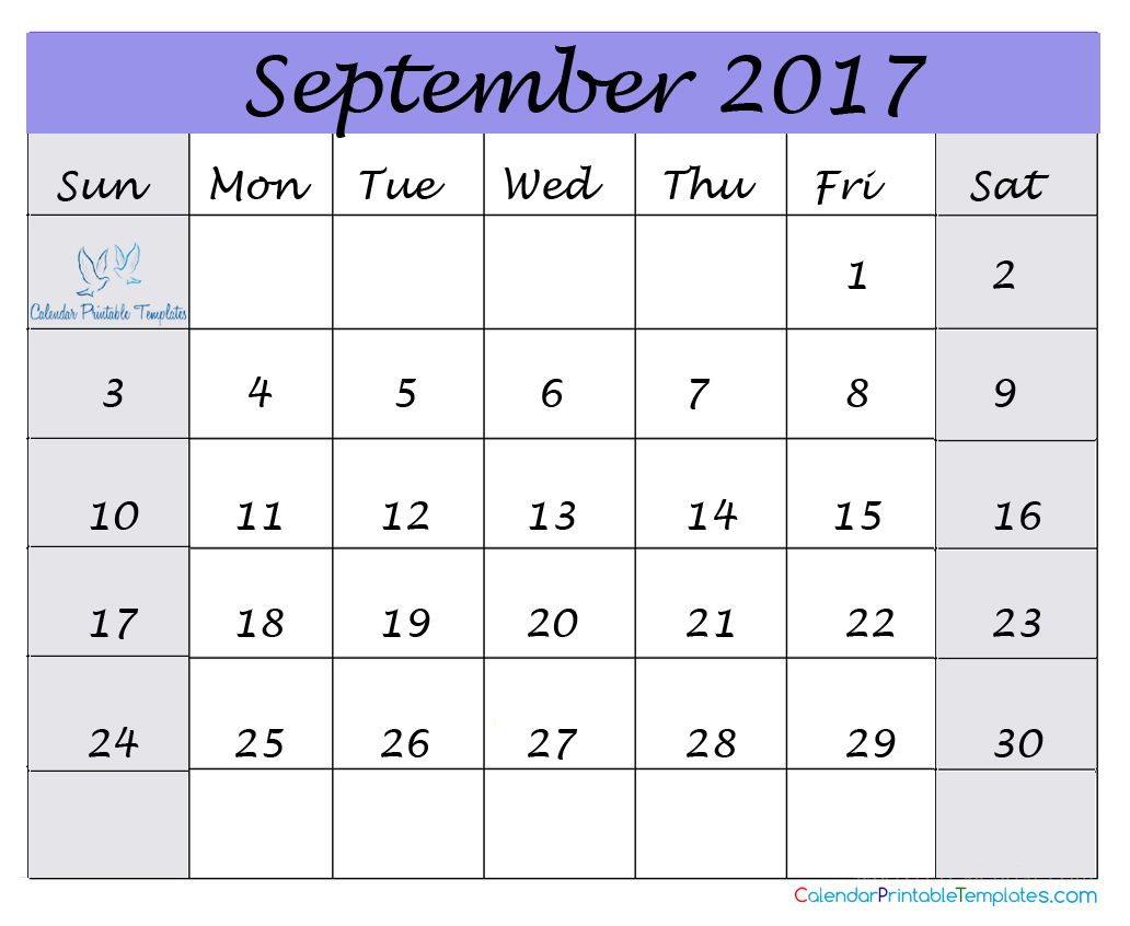 Pin by Calendar Printable on September 2017 Calendar