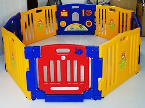 New Baby Kids Interactive 8 Sided Playpen Play Pen With Gate Safety