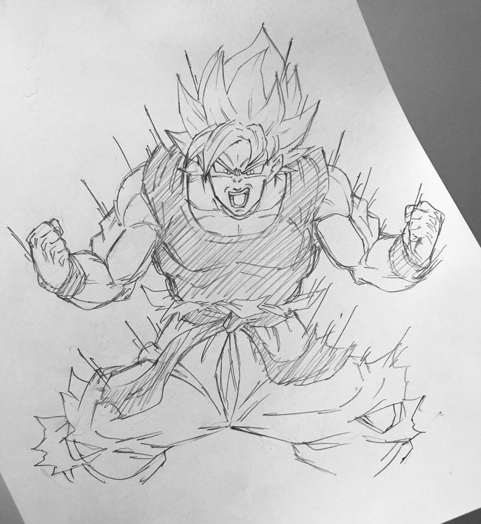 Super saiyan goku now im angry drawing sketch