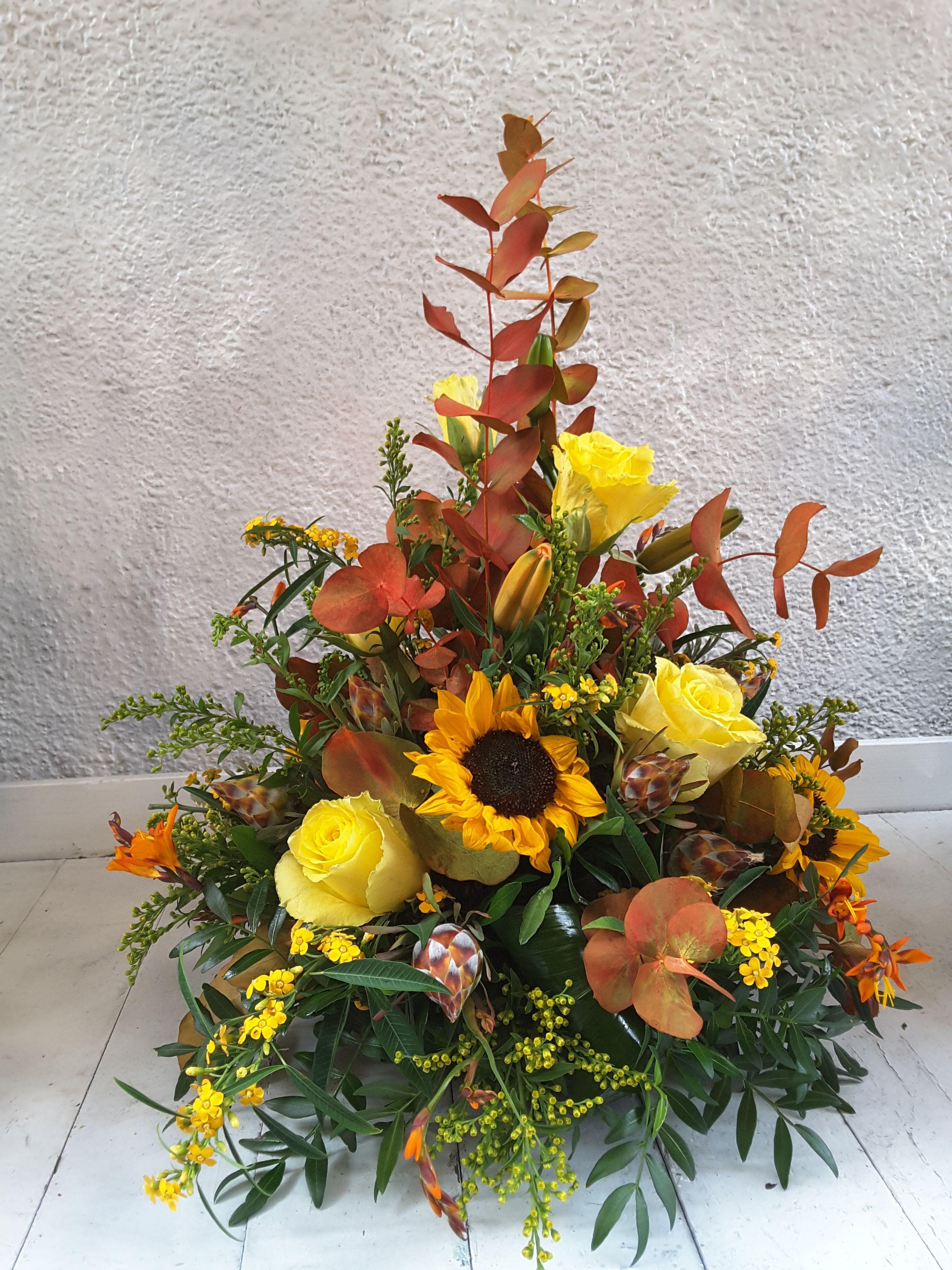Autumnal Arrangement In Bright Yellows Florist London