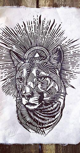 Mountain Lion Lino Print #LukeDixon