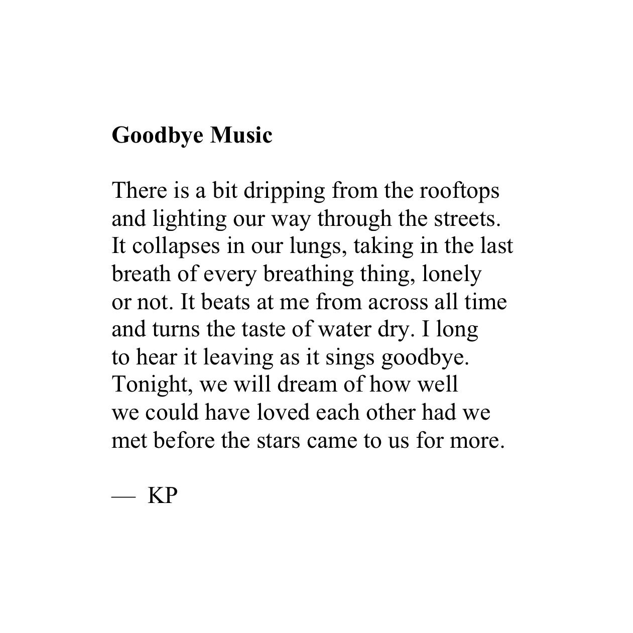 "KP, ""Goodbye Music"""