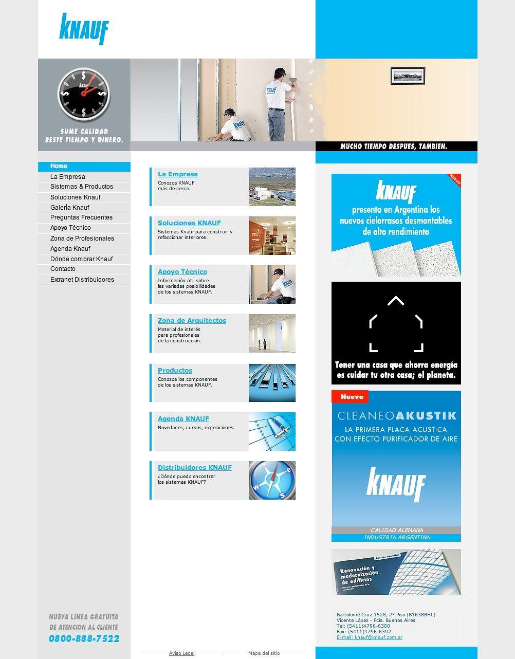 Website para Knauf, empresa de sistemas de construcción en seco.