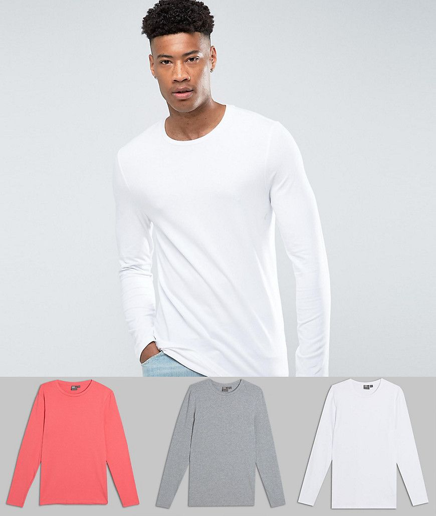3f0bcbfb40b9 DESIGN Tall muscle fit long sleeve t-shirt 3 pack multipack saving ...