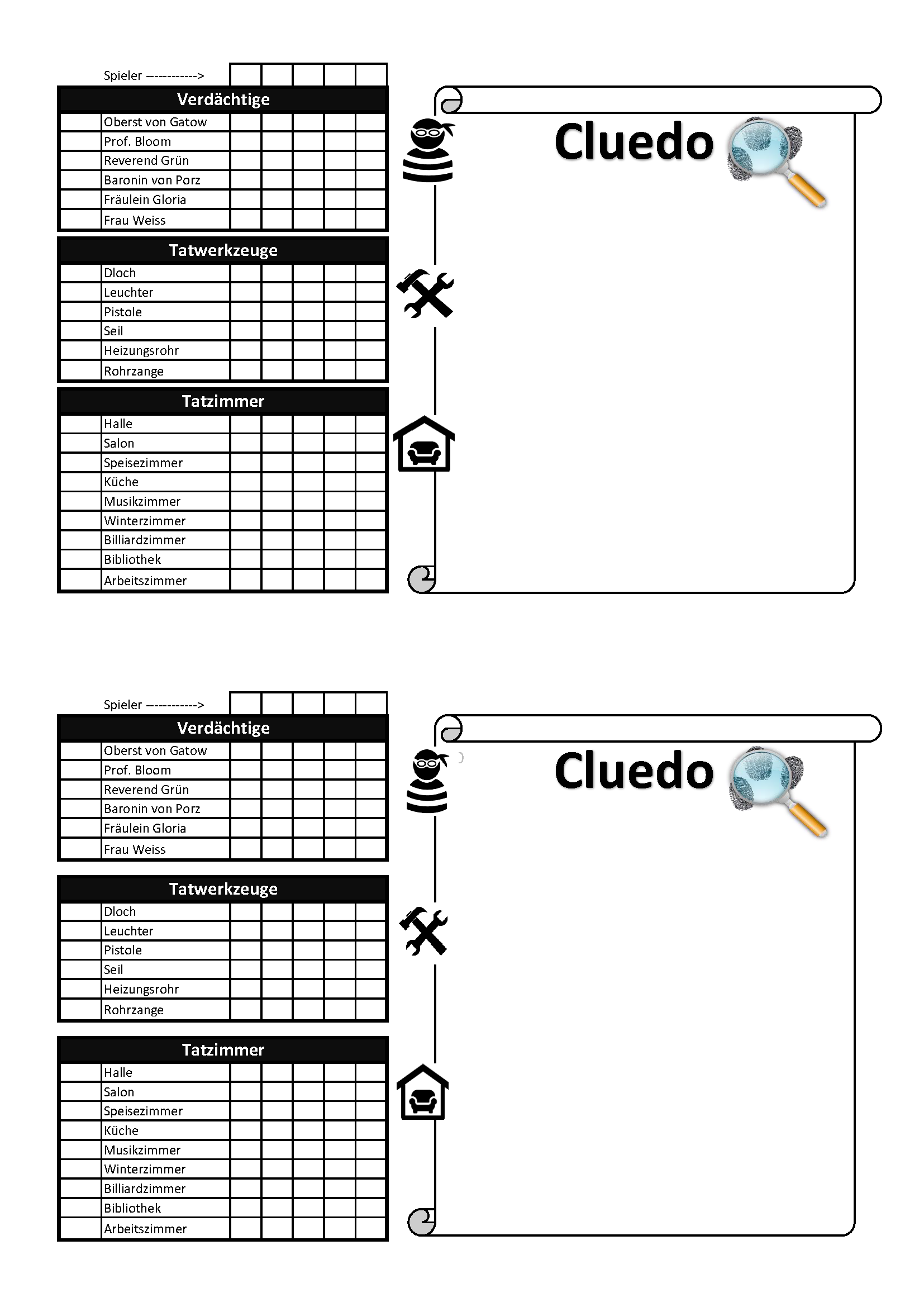 Cluedo Notizblock Pdf