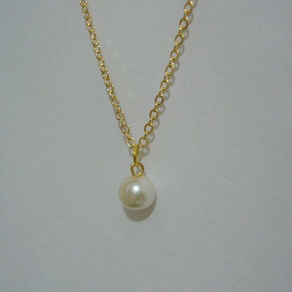 8317d9d6031af Set of 8 Bridesmaid Necklaces, 8 Single Drop Pearl on Gold ...