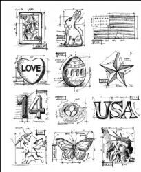 Mb006 stampers anonymous tim holtz cling mounted stamp set mini mb006 stampers anonymous tim holtz cling mounted stamp set mini blueprint americana country view malvernweather Images