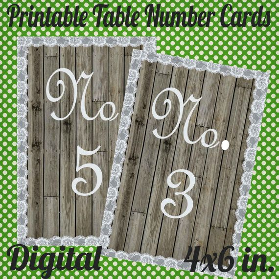 Digital Reception Table Number Cards  You print at home by monbonbon, $9.50